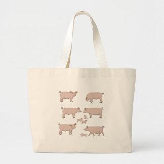 pigs large tote bag