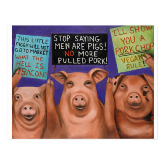 Pigs On Strike Postcard