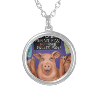 Pigs On Strike Silver Plated Necklace