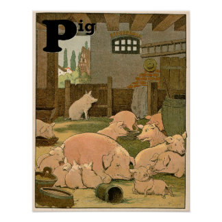 Pigs on the Farm Animal Alphabet Poster