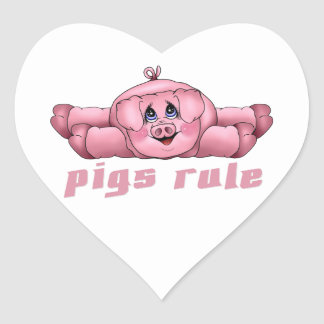 Pigs Rule Heart Sticker