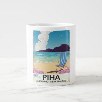 Piha New Zealand vintage travel poster Giant Coffee Mug