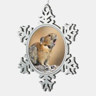 Pika Snowflake Pewter Christmas Ornament