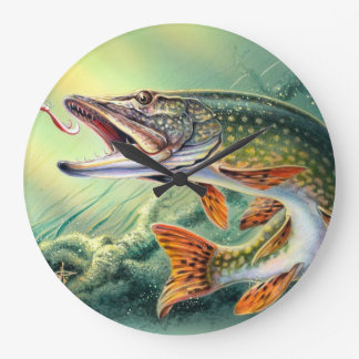 PIKE FISHING WALL CLOCK