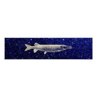 Pike Jack Fish Metallic Foxier Gold Blue Navy Poster