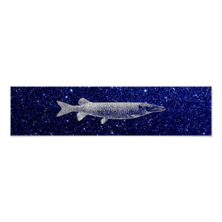 Pike Jack Fish Metallic Silver Gray Blue Navy Poster