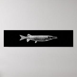 Pike Jack Fish Metallic  Silver Gray Minimal Ocean Poster