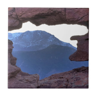 Pikes Peak Framed by Sandstone Hole Small Square Tile