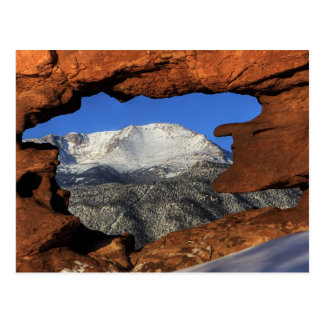 Pikes Peak seen through keyhole rock formation Postcard