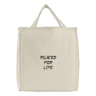 pilates for life embroidered tote bag