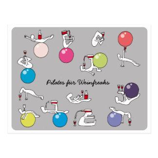 Pilates for wine lovers postcard, grey GERMAN Postcard