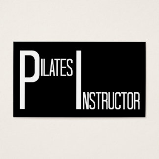 Pilates Instructor Black and White Business Card