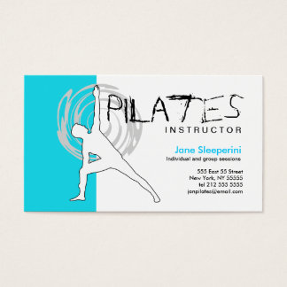Pilates Instructor Business Card Blue
