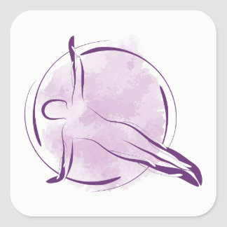Pilates pose square sticker