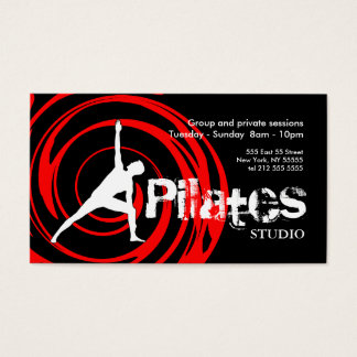 Pilates Studio Business Card Black Red