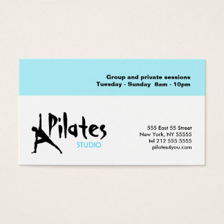 Pilates Studio Business Card White Blue