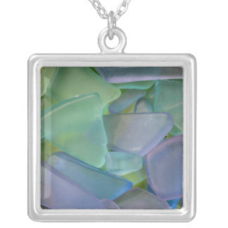 Pile of blue beach glass, Alaska Silver Plated Necklace