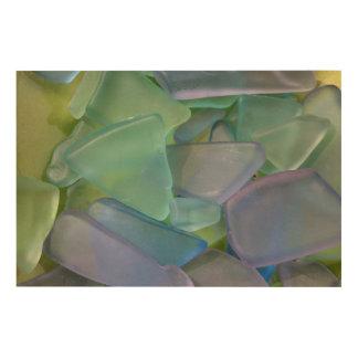 Pile of blue beach glass, Alaska Wood Prints