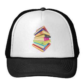 Pile of colorful books trucker hats