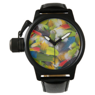 Pile of colorful feathers watch