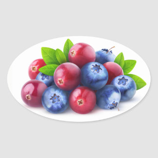 Pile of fresh berries oval sticker
