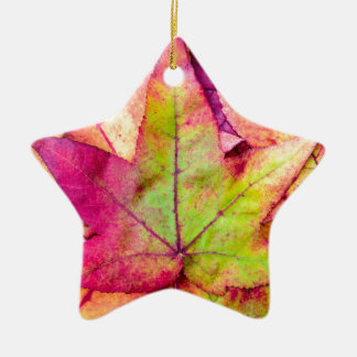 Pile of maple leaves in fall colors ceramic star decoration
