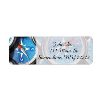 Pile of Nautical Compasses Return Address Label