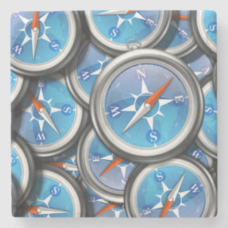 Pile of Nautical Compasses Stone Coaster