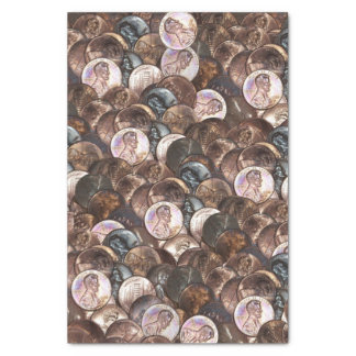 Pile of Pennies - One Cent Penny Spread Background Tissue Paper