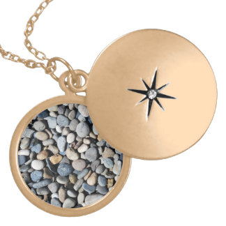 Pile of Rocks Round Locket Necklace