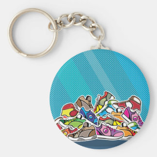 Pile of shoes vector pop art basic round button key ring