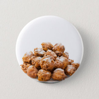 Pile of sugared oliebollen or fried fritters 6 cm round badge