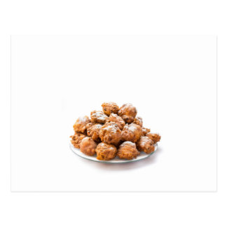 Pile of sugared oliebollen or fried fritters postcard