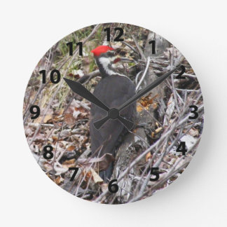 Pileated Woodpecker Pecking Wall Clock