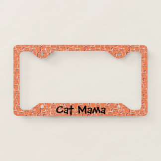 Piles of Cute Orange Tabby Cats Pattern Cat Mama Licence Plate Frame