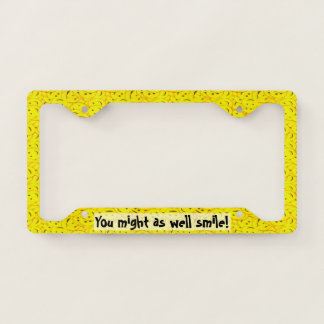 Piles of Cute Yellow Smiley Faces Licence Plate Frame