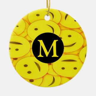Piles of Yellow Cute Smiley Happy Faces Monogram Ceramic Ornament