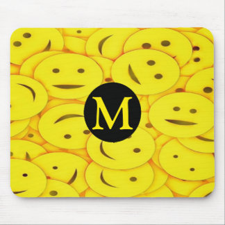 Piles of Yellow Cute Smiley Happy Faces Monogram Mouse Pad