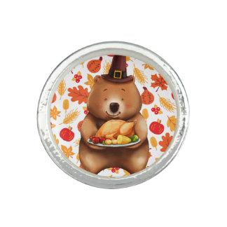 pilgram bear with festive background