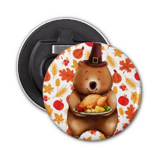 pilgram bear with festive background bottle opener