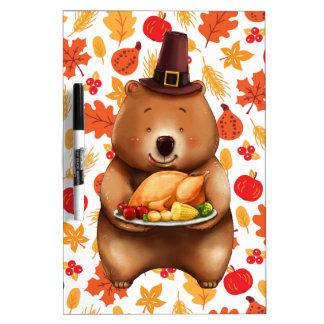 pilgram bear with festive background dry erase board