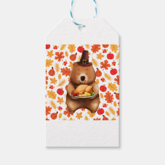 pilgram bear with festive background gift tags