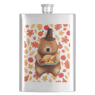 pilgram bear with festive background hip flask