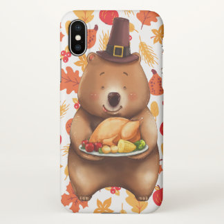 pilgram bear with festive background iPhone x case