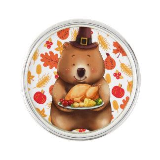 pilgram bear with festive background lapel pin