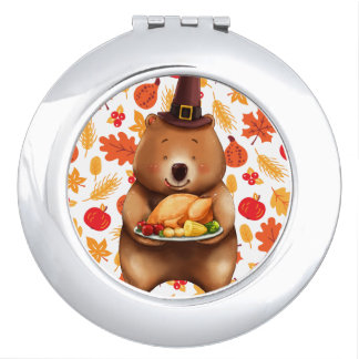 pilgram bear with festive background mirrors for makeup