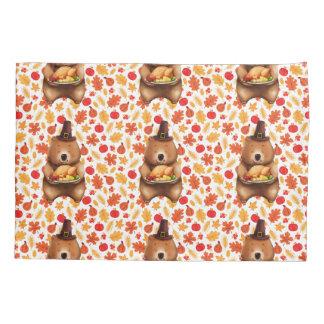 pilgram bear with festive background pillowcase