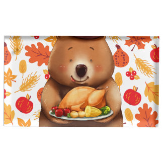 pilgram bear with festive background table card holder