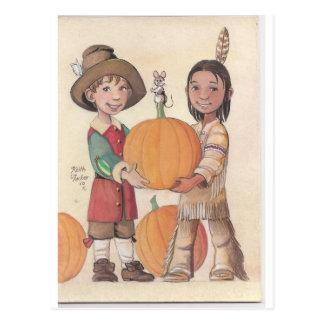 pilgrim boy and indian boy postcard
