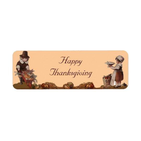 Pilgrim Children Happy Thanksgiving Return Address Label
